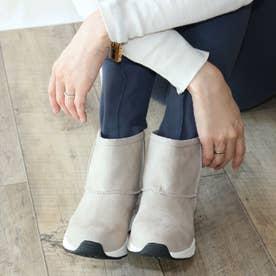 ムートン厚底スニーカーブーツ【低反発スポンジ入り】 (グレー)