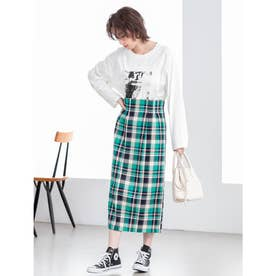 カラーチェックバックスリットタイトスカート (グリーン)