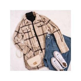 【スタイリストプロデュース】チェックオーバーサイズシャツジャケット (ベージュ)