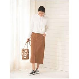 スエードタッチロングタイトスカート (ブラウン)