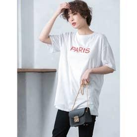 PARISロゴオーバーサイズTシャツ (ホワイト)