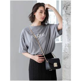 PARISロゴオーバーサイズTシャツ (グレー)