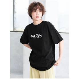 PARISロゴオーバーサイズTシャツ (ブラック)