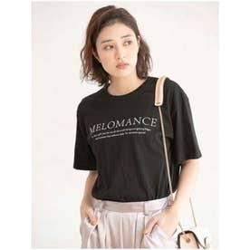 クルーネックプリントTシャツ (ブラック)