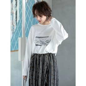 フォトプリントロングスリーブTシャツ (ホワイト)