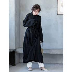 ハイネックデザインロングシャツワンピース (ブラック)