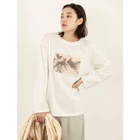 グラフィックプリントロングスリーブTシャツ (ホワイト)