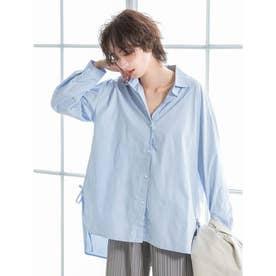 バックロングサイドデザインシャツ (ブルー)