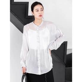 シャイニーポプリンビッグシャツ (ライトグレー)