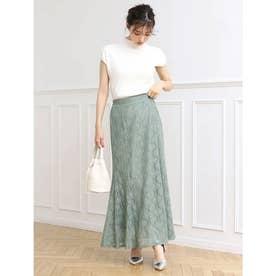 裾フレアフラワーレーススカート (グリーン)