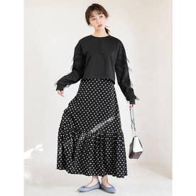 ドットデザイン裾ティアードスカート (ブラック)