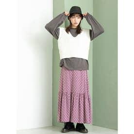 ドットデザイン裾ティアードスカート (パープル)