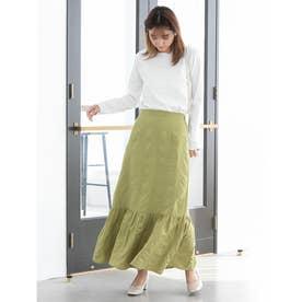 裾切り替えワッシャーフレアスカート (グリーン)