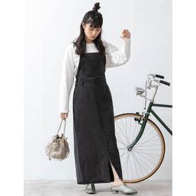 フロントスリットデニムジャンパースカート (ブラック)