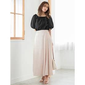 サイドベルトデザインAラインスカート (ベージュ)