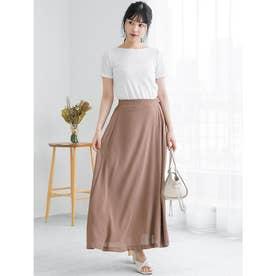 サイドベルトデザインAラインスカート (ブラウン)