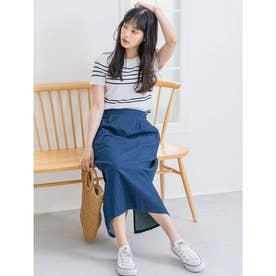 ミドル丈デニムタイトスカート (インディゴブルー)