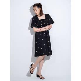 マーガレット刺繍ミニ丈ワンピース (ブラック)