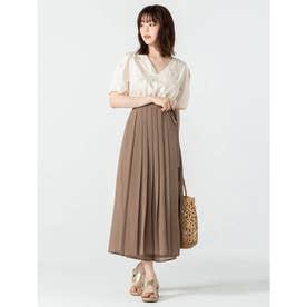 プリーツスカート風シフォンパンツ (ブラウン)