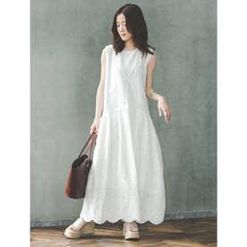 【Yukko Selected Items】コットンレース切替ワンピース (ホワイト)