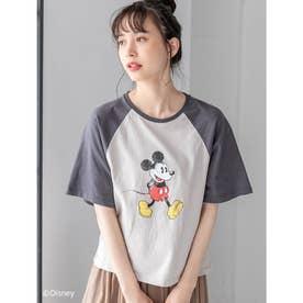 【Disney】ミッキー/ヴィンテージプリントTシャツ (ベージュ)