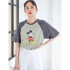 【Disney】ミッキー/ヴィンテージプリントTシャツ (グリーン)