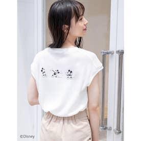 【Disney】ミッキー/ワッフルプリントキーネックTシャツ (ホワイト)