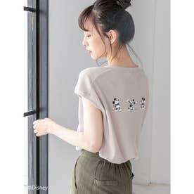 【Disney】ミッキー/ワッフルプリントキーネックTシャツ (ベージュ)
