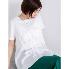 布帛切り替え半袖トップス (ホワイト)