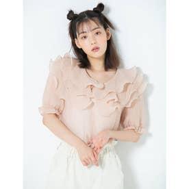 【ERIKO Selected Items】重ねフリルシフォンブラウス (ピンク)