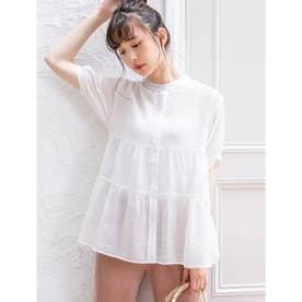 【ERIKO Selected Items】シアーティアードブラウス (ホワイト)