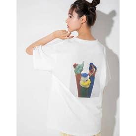 【PEZ×calin】バックプリントオーバーサイズTシャツ (ホワイト)