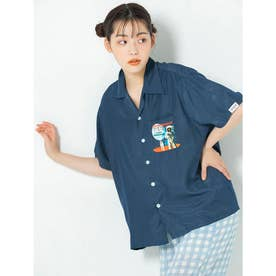【PEZ×calin】開襟シャツ (ブルー)