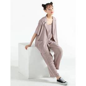 キャミ付き半袖ジャケットセットアップ (ピンク)