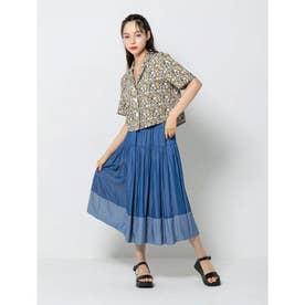 裾切り替えデニムスカート (インディゴブルー)