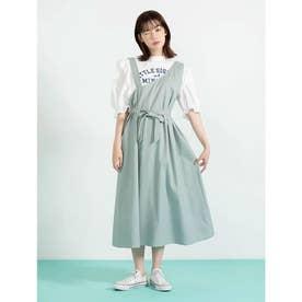 アシメデザイン綿麻ワンピース (ミントグリーン)