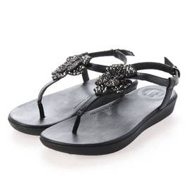 TIA CORSAGE BACK-STRAP SANDALS (All Black)
