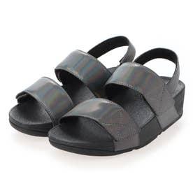 MINA IRIDESCENT BACK-STRAP SANDALS (All Black)