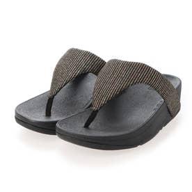 LOTTIE GLITTER STRIPE TOE-THONGS (All Black)