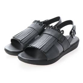 ANNIVERSARY FRINGE H-BAR BACK-STRAP SANDALS (All Black)