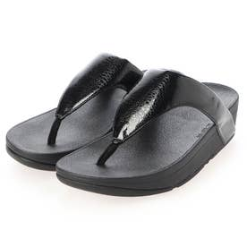 LOTTIE IRIDESCENT SCALE TOE-THONGS (All Black)