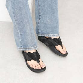 PAISLEY ROPE BACK-STRAP SANDALS (All Black)