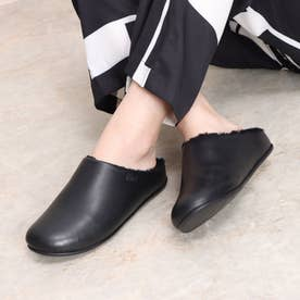 CHRISSIE LEATHER AND SHEARLING SLIPPERS (All Black)
