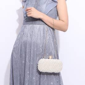 結婚式・謝恩会・フォーマルパーティーバッグ クラッチバッグ パール刺繍ボックスクラッチ (ホワイト)5037