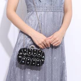 結婚式・謝恩会・フォーマルパーティーバッグ クラッチバッグ パール刺繍ボックスクラッチ (ブラック)716018