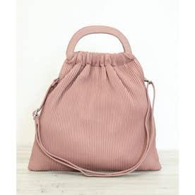 【2way】プリーツ調ストライプ巾着ハンドバッグ/ショルダーバッグ (ピンク)