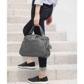 【2way】大容量配色ラウンドハンドバッグ (チャコール)