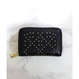 【本革】【2way】【3種展開】スタッズスクエア小さい財布 (ブラック)