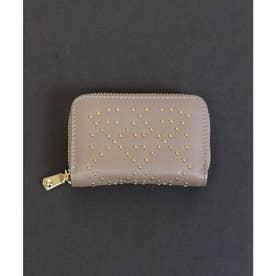 【本革】【2way】【3種展開】スタッズスクエア小さい財布 (グレー)