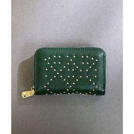 【本革】【2way】【3種展開】スタッズスクエア小さい財布 (グリーン)